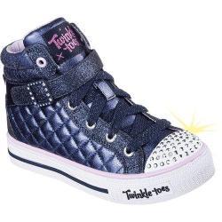 Girls' Skechers Twinkle Toes Shuffles Sweetheart Sole High Top Navy/Lavendar