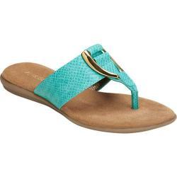 Women's Aerosoles Nice Save Thong Sandal Green Snake Faux Leather