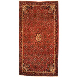 Herat Oriental Persian Hand-knotted Tribal Bidjar Ivory/ Navy Wool Rug (5'2 x 9'9)