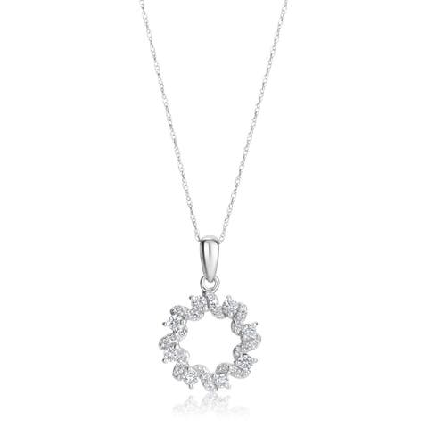 SummerRose 14k White Gold 1/2ct TDW Diamond Pendant Necklace