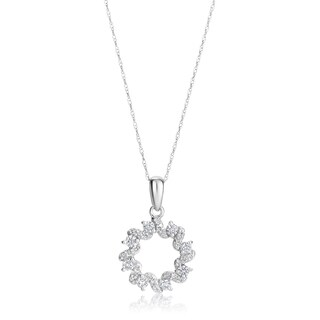 Andrew Charles 14k White Gold 1/2ct TDW Diamond Pendant Necklace