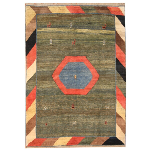 Herat Oriental Persian Hand-knotted Gabbeh Wool Rug (7' x 9'10) - 7' x 9'10