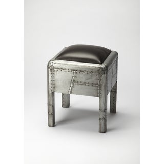 Industrial Chic Black/ Silver Bunching Ottoman