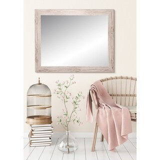 BrandtWorks Large 32 x 38 - Inch Farmhouse Cream Cottage Wall Mirror - Brown/Ivory - 32 x 38