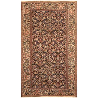 Herat Oriental Persian Hand-knotted 1920s Antique Tribal Mashad Navy/ Beige Wool Rug (5'10 x 10')