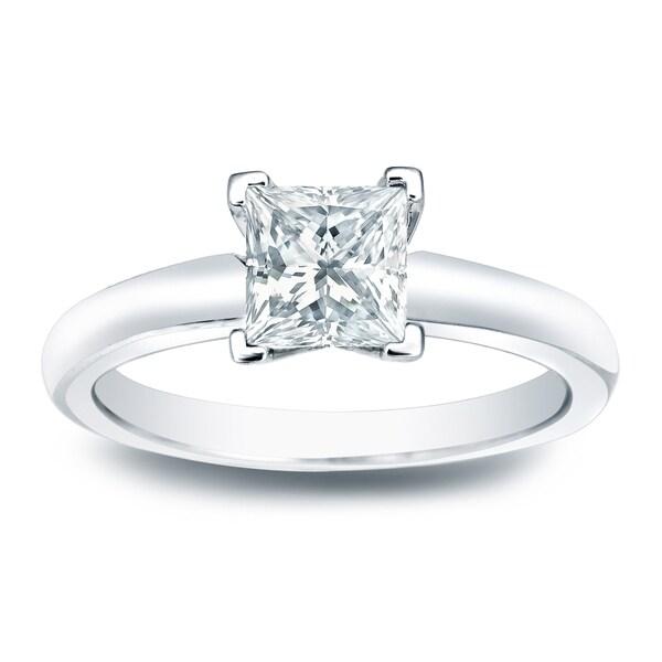 Auriya 14k Gold 1/4ct TDW Princess-cut Diamond Solitaire Engagement Ring