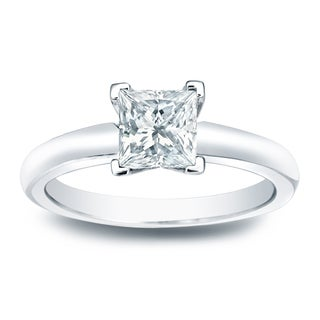 Auriya 14k Gold 1/4ct TDW Princess-cut Diamond Solitaire Engagement Ring