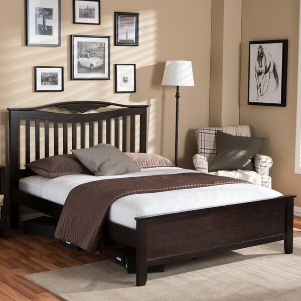 Baxton Studio Stelios Classic Dark Brown Solid Rubberwood Wooden Platform Bed