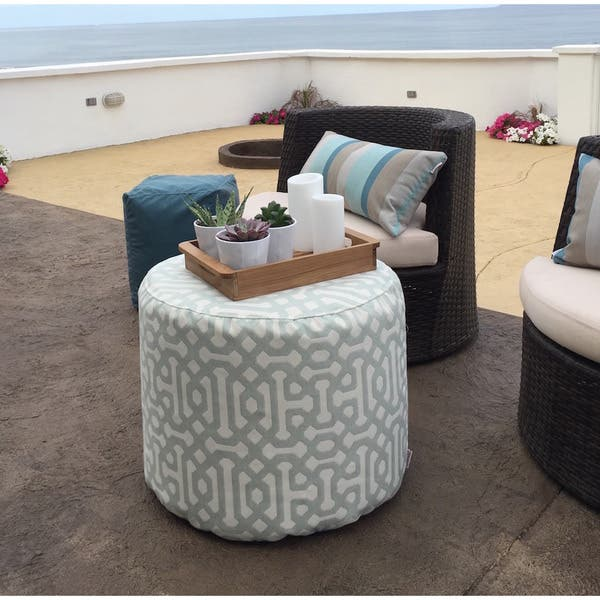 Surprising Shop Outdoor Indoor Sunbrella Pouf 22 Round Fretwork Mist Machost Co Dining Chair Design Ideas Machostcouk