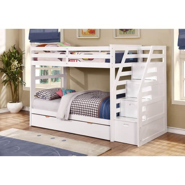 Fortis Twin Over Twin Bunk Bed With Trundle And Storage Steps Overstock 11501922 White