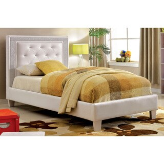 Furniture of America Sheila Contemporary Tufted White Leatherette Full-size Platform Bed