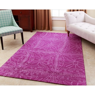ABBYSON LIVING Hand-tufted Maui Magenta New Zealand Wool Rug (3' x 5')