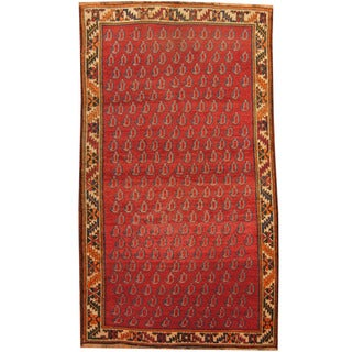 Herat Oriental Persian Hand-knotted 1940s Semi-antique Tribal Shiraz Red/ Beige Wool Rug (5'4 x 9'9)