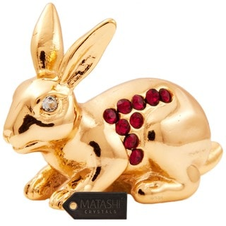 24k Goldplated Year of The Rabbit Table Top Made with Genuine Matashi Crystals