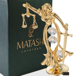 24k Goldplated Exquisite Lady of Justice Table Top Made with Genuine Matashi Crystals