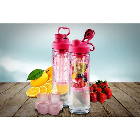 Fruit Infuser Tritan 28-ounce Water Bottle with Reusable Ice Cubes