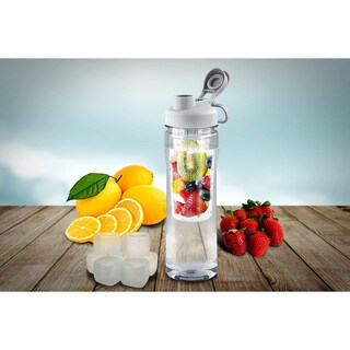 Fruit Infuser Tritan 28 oz. Water Bottle with Reusable Ice Cubes (2 options available)