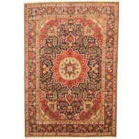Herat Oriental Persian Hand-knotted Tabriz Navy/ Red Wool Rug (6'6 x 9'5) - 6'6 x 9'5