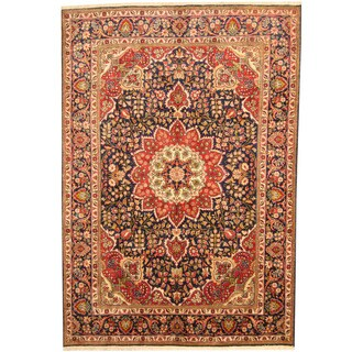 Herat Oriental Persian Hand-knotted Tabriz Navy/ Red Wool Rug (6'6 x 9'5)