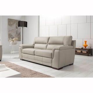 Flavia Cream Leather 3-Seater Sofa