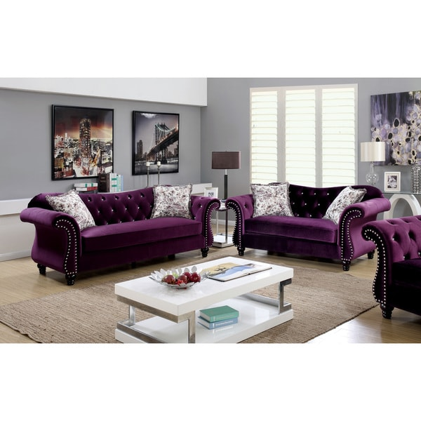 Furniture of america dessie traditional 3 piece tufted for Living room ideas velvet
