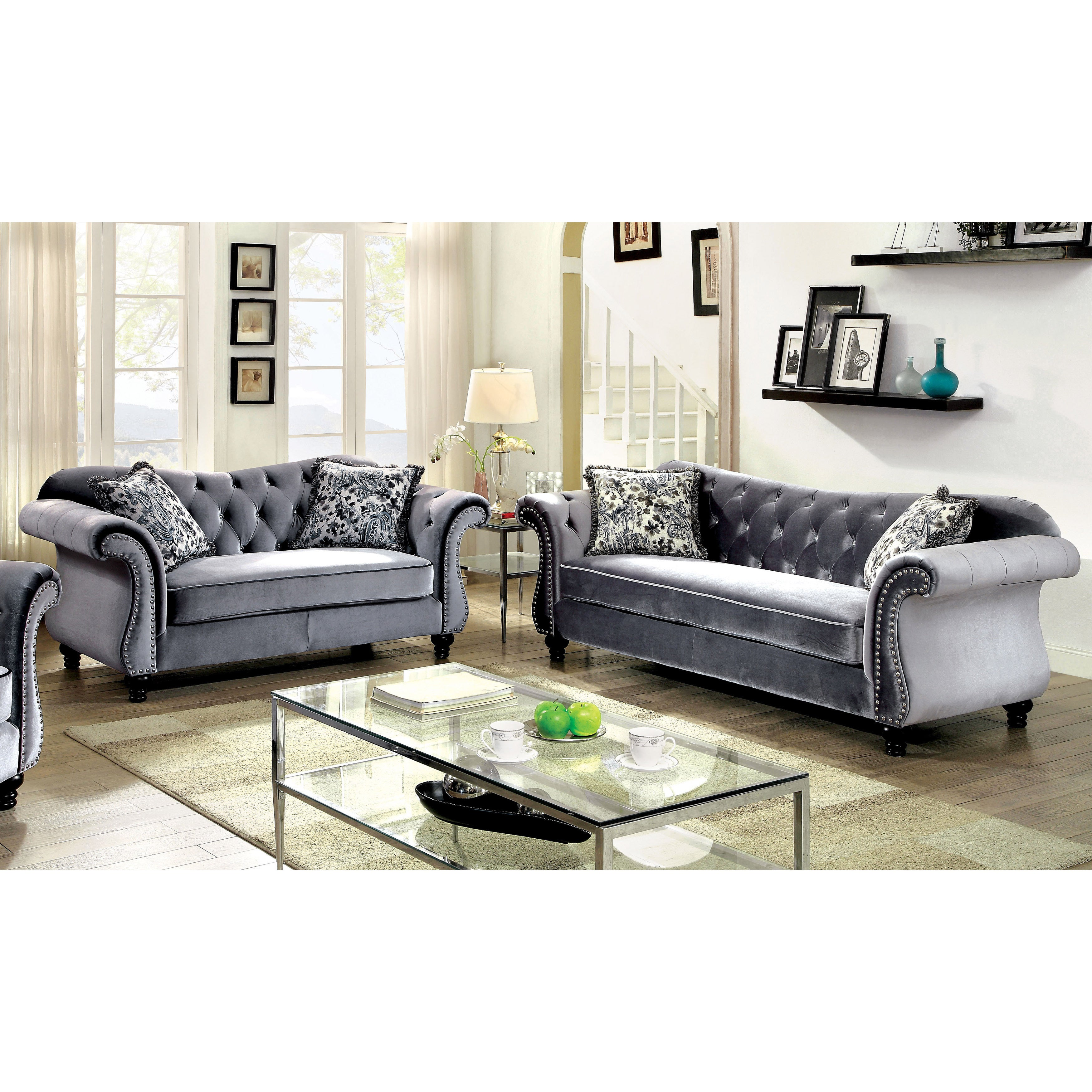 Furniture of America Dessie Traditional 3 piece Tufted Sofa Set