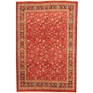 Herat Oriental Persian Hand-knotted Mashad Red/ Navy Wool Rug (6'9 x 10')