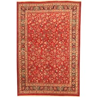 Herat Oriental Persian Hand-knotted Mashad Red/ Navy Wool Rug (6'9 x 10') - 6'9 x 10'