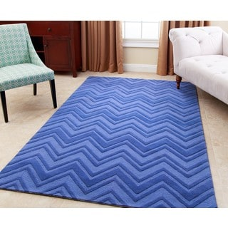 ABBYSON LIVING Hand-tufted Stacy Blue New Zealand Wool Rug (5' x 8')