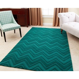 ABBYSON LIVING Hand-tufted Stacy Emerald Green New Zealand Wool Rug (5' x 8')
