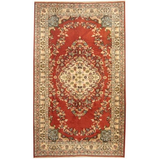 Herat Oriental Turkish Hand-knotted Tribal Sparta Red/ Ivory Wool Rug (5'9 x 9'6)