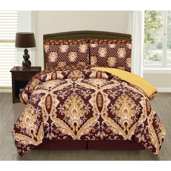 Couture Home Collection Miranda Damask Printed 4-Piece Reversible Comforter Set