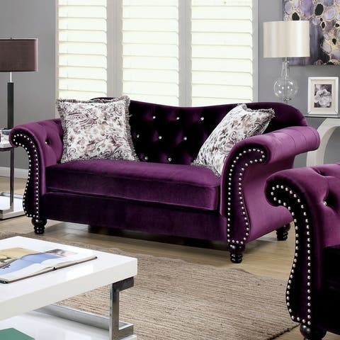 Furniture of America Tese Traditional Purple Fabric Nailhead Loveseat