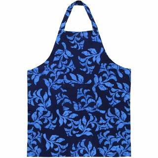 Global Mamas Handmade Cotton Apron - Blue Hanging Ferns (Ghana)