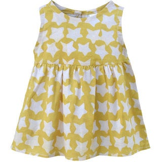 Global Mamas Hand Batiked Baby Sundress - Gold Stars - (Ghana)