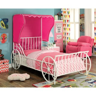 Furniture of America Paige White Metal Carriage Bed with Pink Tent
