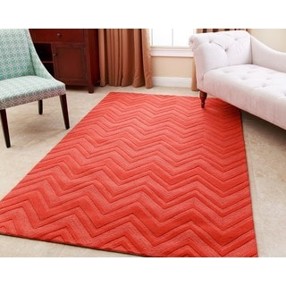 ABBYSON LIVING Hand-tufted Stacy Orange New Zealand Wool Rug (3' x 5')