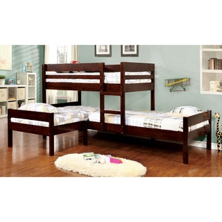 Furniture of America Tressa Espresso Wood Corner Twin Bunk Bed Set (3 Piece)