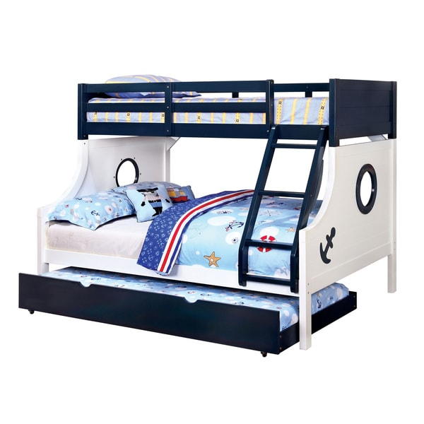 furniture of america admiral ship bluewhite twin over full bunk bed free shipping today
