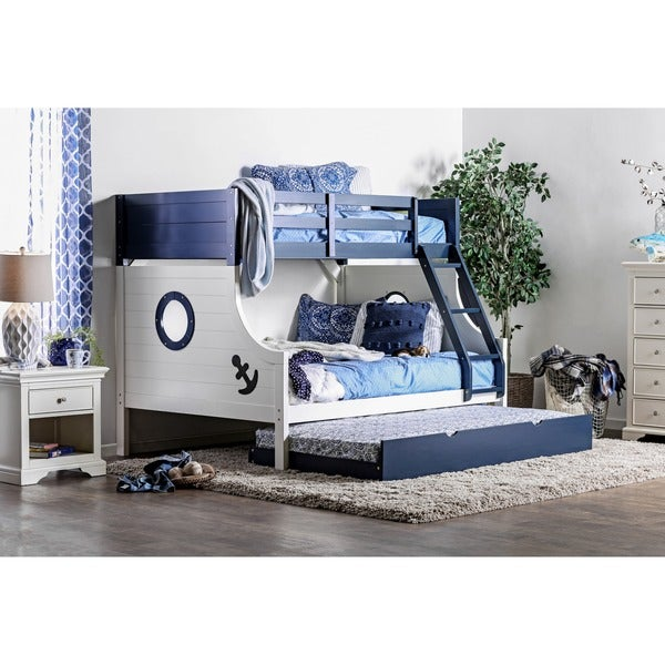 Furniture of america admiral ship blue white twin over for Beds 80 off