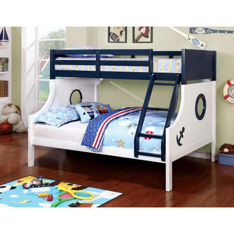Furniture of America Luza Novelty White Twin/Full Solid Wood Bunk Bed