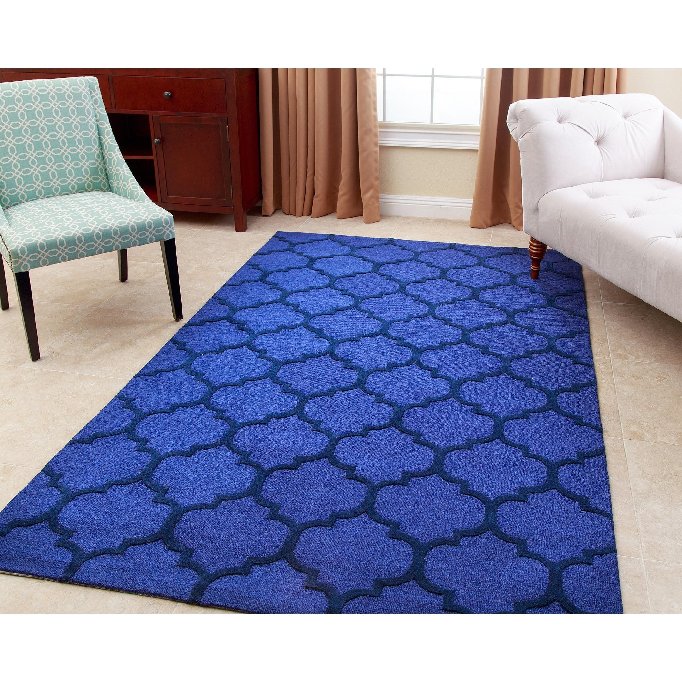 Abbyson Sebastian Sapphire Wool Rug (5' x 8') (Cerulean B...