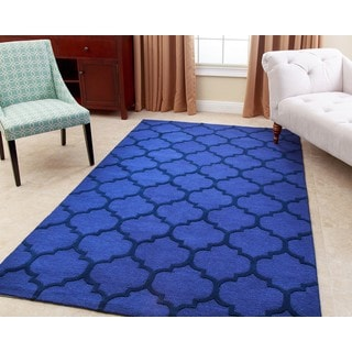 ABBYSON LIVING Hand-tufted Sebastian Blue New Zealand Wool Rug (3' x 5')