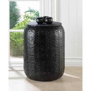 Moroccan Patterned Black Garden Stool