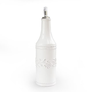 American Atelier Bianca Leaf White Earthenware Oil Bottle