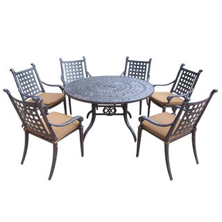 Cast Aluminum 7-piece Dining Set with 6 Sunbrella Cushioned Chairs