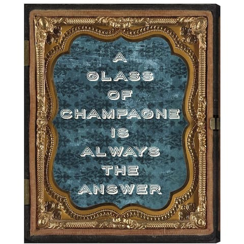 Oliver Gal 'Carson Kressley - Glass of Champagne' Typography and Quotes Wall Art Canvas Print - Green, Gold