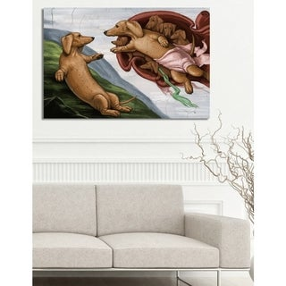Oliver Gal 'Carson Kressley - The Creation of the Dog' Animals Wall Art Canvas Print - Brown, Green