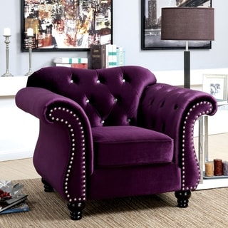 Link to Furniture of America Tese Traditional Felt Button Tufted Armchair Similar Items in Living Room Chairs