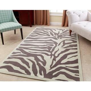 Abbyson Zebra Grey Wool Rug (5' x 8') - 5' x 8'